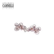18K金镶嵌钻石耳环女时尚个性花瓣
