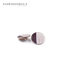 皮耳环女款复古耳饰圆形紫色条纹耳坠