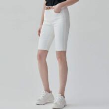 PSALTER诗篇2020夏季新品骑行白色牛仔棉短裤  黑/白