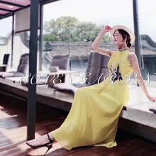 哥文花园黄色无袖连衣裙CRA2081420